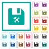 File tools flat color icons with quadrant frames - File tools flat color icons with quadrant frames on white background