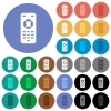 Remote control round flat multi colored icons - Remote control multi colored flat icons on round backgrounds. Included white, light and dark icon variations for hover and active status effects, and bonus shades on black backgounds.