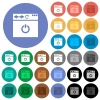 Close browser page round flat multi colored icons - Close browser page multi colored flat icons on round backgrounds. Included white, light and dark icon variations for hover and active status effects, and bonus shades on black backgounds.