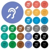 Hearing impaired round flat multi colored icons - Hearing impaired multi colored flat icons on round backgrounds. Included white, light and dark icon variations for hover and active status effects, and bonus shades on black backgounds.