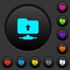 FTP navigate up dark push buttons with color icons - FTP navigate up dark push buttons with vivid color icons on dark grey background