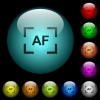 Camera autofocus mode icons in color illuminated glass buttons - Camera autofocus mode icons in color illuminated spherical glass buttons on black background. Can be used to black or dark templates