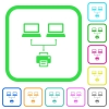 Network printing vivid colored flat icons in curved borders on white background - Network printing vivid colored flat icons