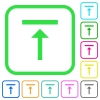 Vertical align top vivid colored flat icons - Vertical align top vivid colored flat icons in curved borders on white background