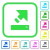 Export vivid colored flat icons - Export vivid colored flat icons in curved borders on white background