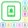 Mobile alarm vivid colored flat icons - Mobile alarm vivid colored flat icons in curved borders on white background