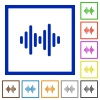 Sound wave flat color icons in square frames on white background - Sound wave flat framed icons