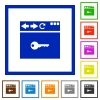 Browser encrypt flat framed icons - Browser encrypt flat color icons in square frames on white background