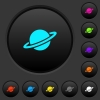 Planet dark push buttons with color icons - Planet dark push buttons with vivid color icons on dark grey background