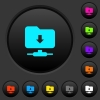 FTP navigate down dark push buttons with color icons - FTP navigate down dark push buttons with vivid color icons on dark grey background