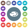 Color palette flat white icons on round color backgrounds - Color palette flat white icons on round color backgrounds. 17 background color variations are included.