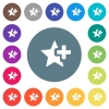 Add star flat white icons on round color backgrounds - Add star flat white icons on round color backgrounds. 17 background color variations are included.