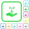 Sharing wireless network vivid colored flat icons - Sharing wireless network vivid colored flat icons in curved borders on white background