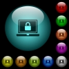Locked laptop icons in color illuminated glass buttons - Locked laptop icons in color illuminated spherical glass buttons on black background. Can be used to black or dark templates