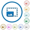 Enlarge photo icons with shadows and outlines - Enlarge photo flat color vector icons with shadows in round outlines on white background