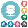 Network database flat white icons on round color backgrounds - Network database flat round icons