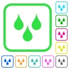Water drops vivid colored flat icons - Water drops vivid colored flat icons in curved borders on white background