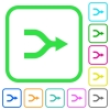 Merge arrows vivid colored flat icons - Merge arrows vivid colored flat icons in curved borders on white background