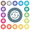 Dollar pay back guarantee sticker flat white icons on round color backgrounds - Dollar pay back guarantee sticker flat white icons on round color backgrounds. 17 background color variations are included.