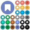 Bookmark round flat multi colored icons - Bookmark multi colored flat icons on round backgrounds. Included white, light and dark icon variations for hover and active status effects, and bonus shades on black backgounds.