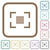 Camera sensor settings simple icons - Camera sensor settings simple icons in color rounded square frames on white background