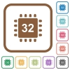 Microprocessor 32 bit architecture simple icons - Microprocessor 32 bit architecture simple icons in color rounded square frames on white background