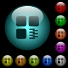 Zip component icons in color illuminated glass buttons - Zip component icons in color illuminated spherical glass buttons on black background. Can be used to black or dark templates