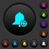 Refresh reminder dark push buttons with color icons - Refresh reminder dark push buttons with vivid color icons on dark grey background