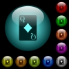 Queen of diamonds card icons in color illuminated spherical glass buttons on black background. Can be used to black or dark templates