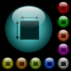 Elemet dimensions icons in color illuminated spherical glass buttons on black background. Can be used to black or dark templates - Elemet dimensions icons in color illuminated glass buttons