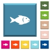 Fish white icons on edged square buttons - Fish white icons on edged square buttons in various trendy colors