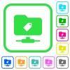 FTP tag vivid colored flat icons - FTP tag vivid colored flat icons in curved borders on white background