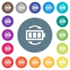 Rechargeable battery flat white icons on round color backgrounds - Rechargeable battery flat white icons on round color backgrounds. 17 background color variations are included.