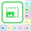 Enlarge photo vivid colored flat icons - Enlarge photo vivid colored flat icons in curved borders on white background