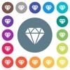 Diamond flat white icons on round color backgrounds - Diamond flat white icons on round color backgrounds. 17 background color variations are included.