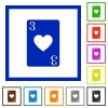 Three of hearts card flat framed icons - Three of hearts card flat color icons in square frames on white background