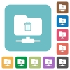 FTP delete rounded square flat icons - FTP delete white flat icons on color rounded square backgrounds