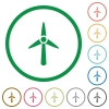 Wind turbine flat color icons in round outlines on white background - Wind turbine flat icons with outlines