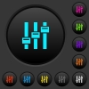 Adjust dark push buttons with color icons - Adjust dark push buttons with vivid color icons on dark grey background