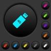 Fourth generation mobile stick dark push buttons with color icons - Fourth generation mobile stick dark push buttons with vivid color icons on dark grey background