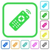 Working remote control vivid colored flat icons - Working remote control vivid colored flat icons in curved borders on white background