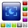 Camera night mode color square buttons - Camera night mode icons in rounded square color glossy button set