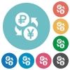 Ruble Yen money exchange flat round icons - Ruble Yen money exchange flat white icons on round color backgrounds