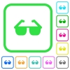 Sunglasses vivid colored flat icons - Sunglasses vivid colored flat icons in curved borders on white background