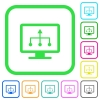 TV select source vivid colored flat icons - TV select source vivid colored flat icons in curved borders on white background