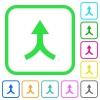 Merge arrows up vivid colored flat icons - Merge arrows up vivid colored flat icons in curved borders on white background