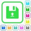 Upload file vivid colored flat icons - Upload file vivid colored flat icons in curved borders on white background