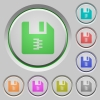 zip archive file push buttons - zip archive file color icons on sunk push buttons
