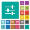 Adjustment square flat multi colored icons - Adjustment multi colored flat icons on plain square backgrounds. Included white and darker icon variations for hover or active effects.
