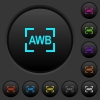 Camera auto white balance mode dark push buttons with vivid color icons on dark grey background - Camera auto white balance mode dark push buttons with color icons